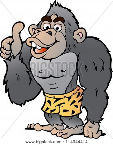 Vector Cartoon Illustration Of A Strong Gorilla Giving Thumb Up