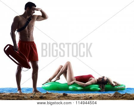 couple lifeguards on the beach