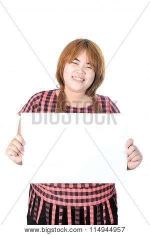 Asian Plump Woman Standing With Empty Horizontal Blank Paper In Hands, Isolated On White Background.