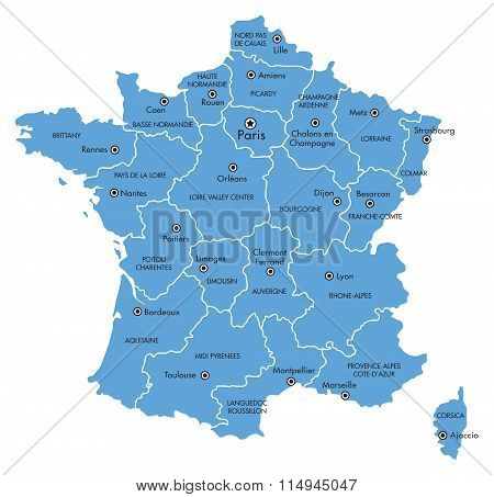 Map of France with Provinces and Cities