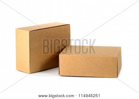 Closed Two Cardboard Box Or Brown Paper Box Isolated With Soft Shadow On White Background