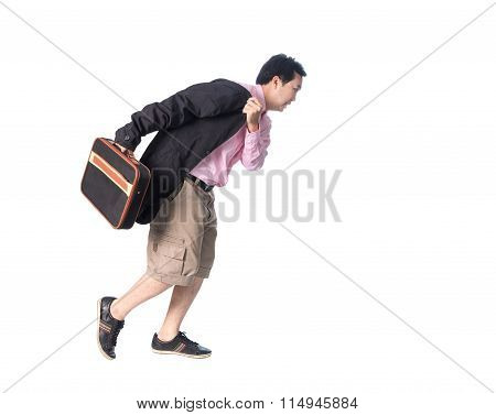 Asian Businessman Running With A Briefcase In Hand, Isolated On White Background.