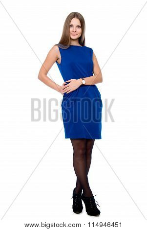 Full-length Portrait Of Young Beautiful Smiling Girl In A Blue Dress