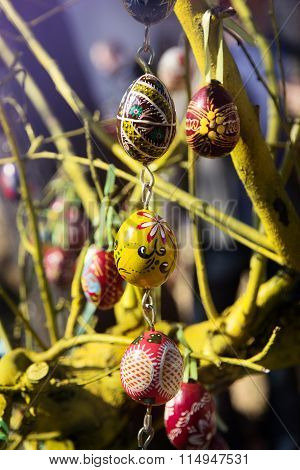 Hand-painted Multicolor Eggs For Easter In European City
