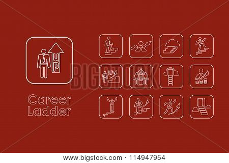Set of career ladder simple icons
