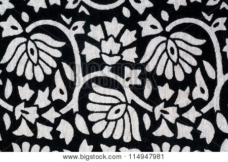 Black And White Tablecloth In Vintage Style Of Stamping Ink
