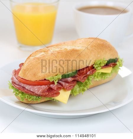 Healthy Eating Sub Sandwich Baguette For Breakfast With Salami Ham And Orange Juice