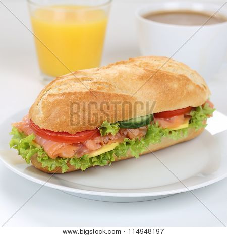 Healthy Eating Sub Sandwich Baguette For Breakfast With Salmon Fish And Orange Juice