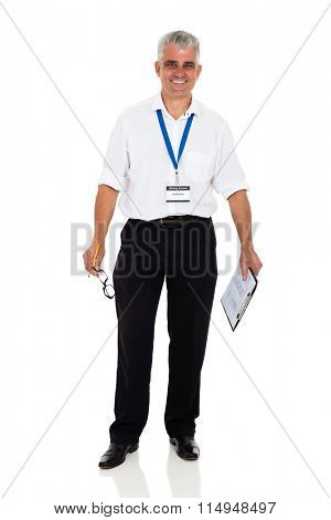 happy middle aged driving instructor on white background