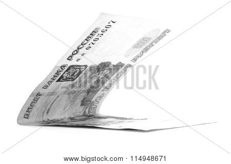 Black Russian Ruble Banknote Folded Isolated On White Background