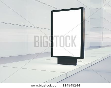 Blank lightbox on the empty street. Glass facades of buildings in  background. Right side. 3d render