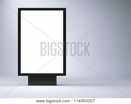 black lightbox in the empty studio. Left side. Blank gray wall background. 3d render