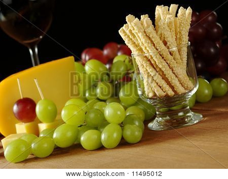 Sesame Stick with Cheese and Grapes