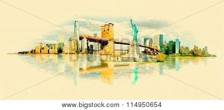 Vector Watercolor New York City Illustration