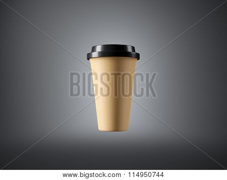 Brown craft paper cup on the gray background. 3d rendering