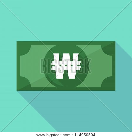 Long Shadow Banknote Icon With A Won Currency Sign