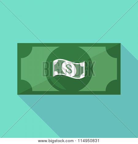 Long Shadow Banknote Icon With A Dollar Bank Note