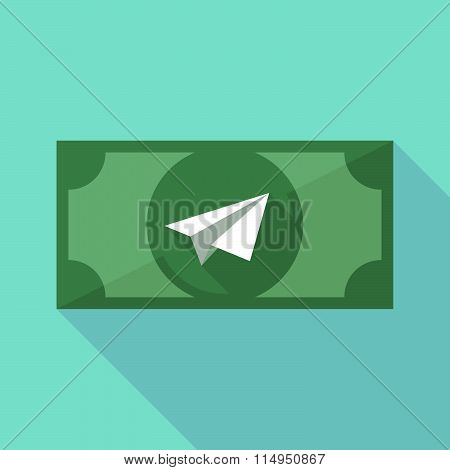 Long Shadow Banknote Icon With A Paper Plane