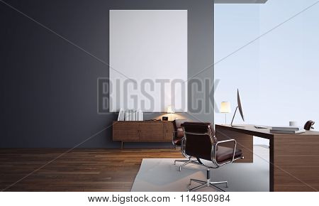 Concept of modern office interior with empty white canvas. 3d render