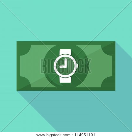 Long Shadow Banknote Icon With A Wrist Watch
