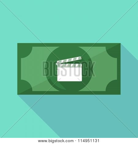 Long Shadow Banknote Icon With A Clapperboard