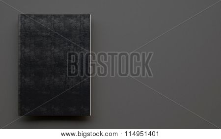 Notebook with black leather cover on the gray background. 3d render