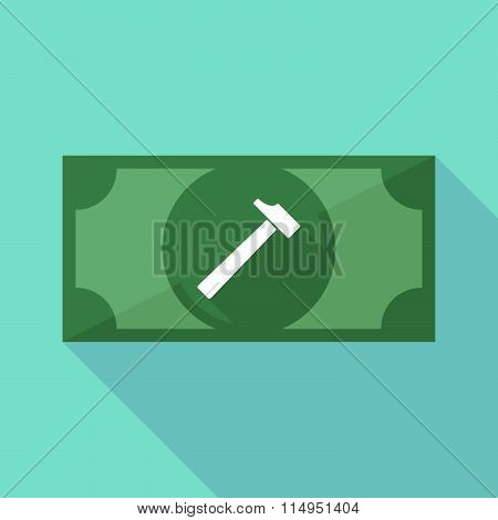 Long Shadow Banknote Icon With A Hammer