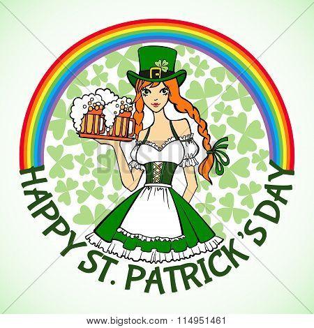 Beautiful Leprechaun Girl In Green With  Beer.