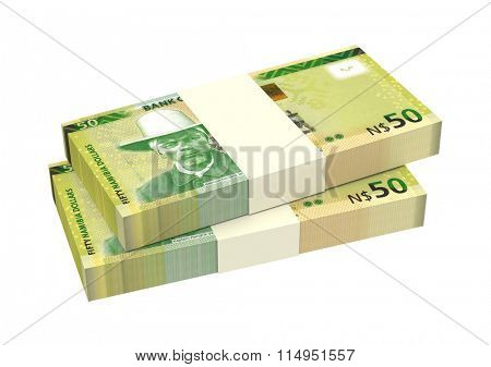 Namibian dollars bills isolated on white background. Computer generated 3D photo rendering.