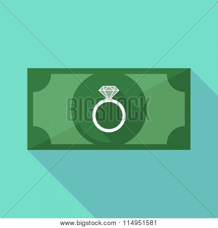 Long Shadow Banknote Icon With An Engagement Ring