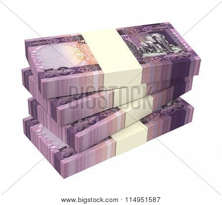 South Sudanese pounds bills isolated on white background. Computer generated 3D photo rendering.