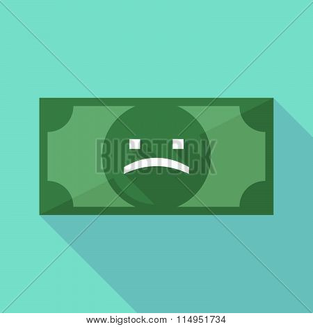 Long Shadow Banknote Icon With A Sad Text Face