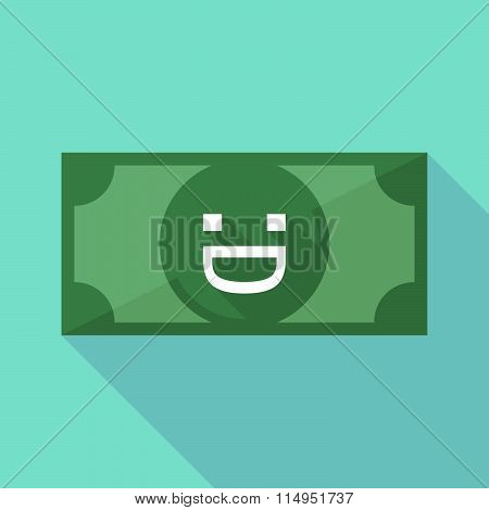 Long Shadow Banknote Icon With A Laughing Text Face