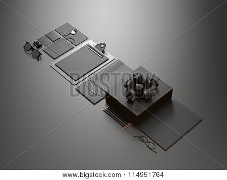 Set of modern business elements on the black background. 3d render