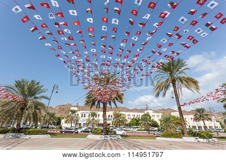 Omani National Flags In Muttrah, Oman