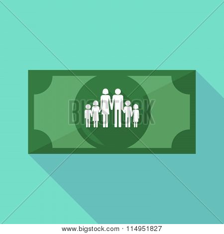 Long Shadow Banknote Icon With A Large Family  Pictogram