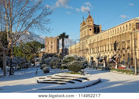 St. Lucy Monastery and Norman Castle of Adrano under the snow, Sicily