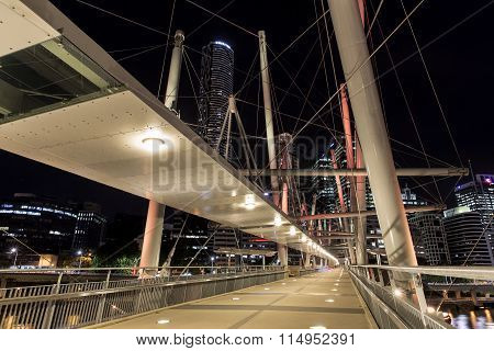 Kurilpa Bridge southside architecture, illuminated pedestrian walkway
