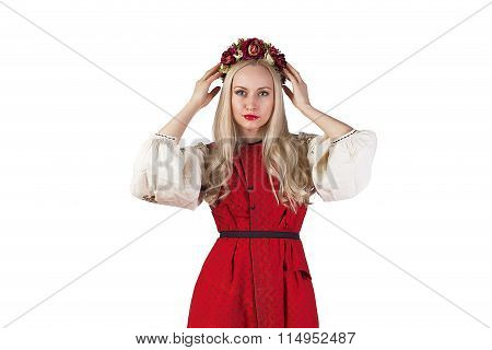Girl In Ukrainian Costume Holding Her Flower Chaplet