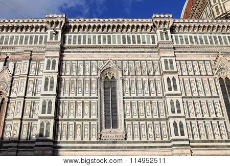 Ornate Facade Of Dome Of The Cathedral Of Santa Maria Del Fiore, Florence, Italy.