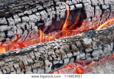 Firewood burning in flame macro shot