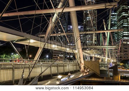 Kurilpa Bridge illuminated pedestrian architecture closeup