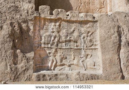 Historical Relief Carved Between 239 - 70 Ad About Victory Of Bahram Ii, Sasanian King Of Persia