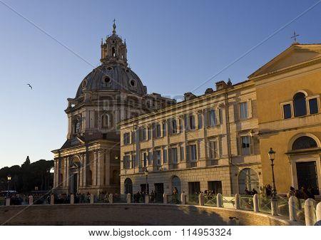 View From The Street Of Santa Maria Di Loreto Church