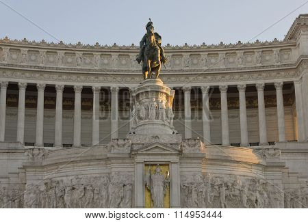 Day Close Up Of The Equestrian Statue Of Emmanuel Ii In Rome