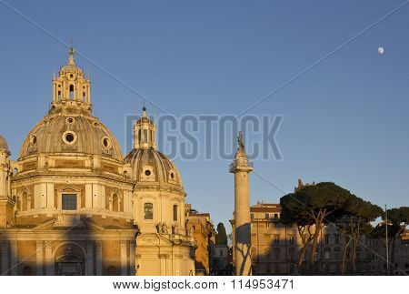 Trajan Column And The Santa Maria Di Loreto church