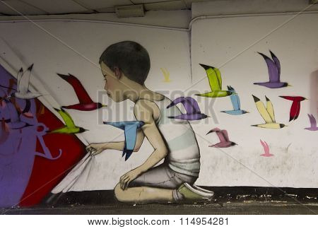 Mural From French Painter Seth Globepainter In Rome Metro Station