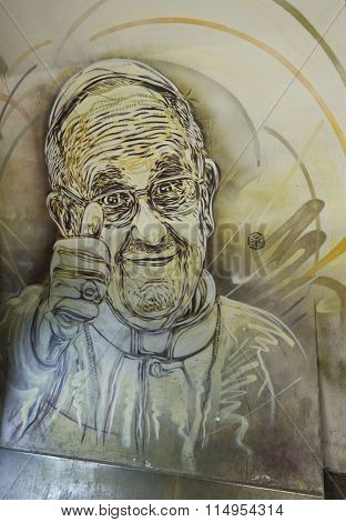 Mural Of Pope Francis By French Street Artist Christian Guemy