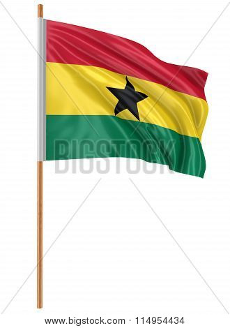 3D Ghana flag with fabric surface texture. White background.