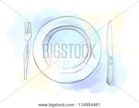 Hand drawn pencil sketch of plate, knife, fork